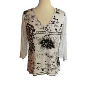 Beaded boho floral Bila  bell sleeve shirt